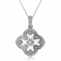 Four Leaf Clover Diamond Pendant Necklace 14k White Gold (0.61ct)