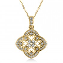 Four Leaf Clover Diamond Pendant Necklace 14k Yellow Gold (0.61ct)