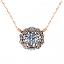 Round Diamond Halo Pendant Necklace 14K Rose Gold (1.15ct)