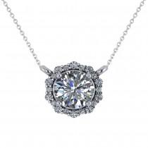 Round Diamond Halo Pendant Necklace 14K White Gold (1.15ct)