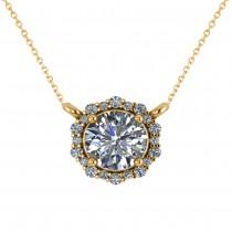 Round Diamond Halo Pendant Necklace 14K Yellow Gold (1.15ct)