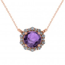 Round Diamond & Amethyst Halo Pendant Necklace 14K Rose Gold (1.25ct)