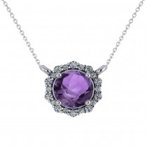 Round Diamond & Amethyst Halo Pendant Necklace 14K White Gold (1.25ct)