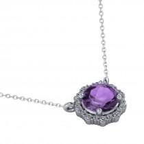 Round Diamond & Amethyst Halo Pendant Necklace 14K White Gold (1.25ct)