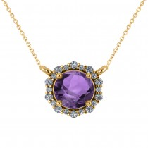 Round Diamond & Amethyst Halo Pendant Necklace 14K Yellow Gold (1.25ct)