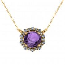 Round Diamond & Amethyst Halo Pendant Necklace 14K Yellow Gold (1.25ct)