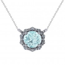 Round Diamond & Aquamarine Halo Pendant Necklace 14K White Gold (1.45ct)