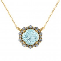 Round Diamond & Aquamarine Halo Pendant Necklace 14K Yellow Gold (1.45ct)