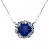 Round Diamond & Blue Sapphire Halo Pendant Necklace 14K White Gold (1.55ct)