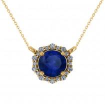 Round Diamond & Blue Sapphire Halo Pendant Necklace 14K Yellow Gold (1.55ct)