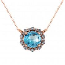 Round Diamond & Blue Topaz Halo Pendant Necklace 14K Rose Gold (1.50ct)