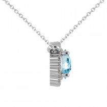 Round Diamond & Blue Topaz Halo Pendant Necklace 14K White Gold (1.50ct)|escape