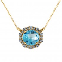 Round Diamond & Blue Topaz Halo Pendant Necklace 14K Yellow Gold (1.50ct)