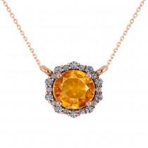 Round Diamond & Citrine Halo Pendant Necklace 14K Rose Gold (1.25ct)