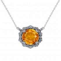 Round Diamond & Citrine Halo Pendant Necklace 14K White Gold (1.25ct)