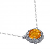 Round Diamond & Citrine Halo Pendant Necklace 14K White Gold (1.25ct)
