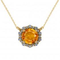 Round Diamond & Citrine Halo Pendant Necklace 14K Yellow Gold (1.25ct)