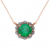 Round Diamond & Emerald Halo Pendant Necklace 14K Rose Gold (1.40ct)