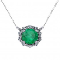 Round Diamond & Emerald Halo Pendant Necklace 14K White Gold (1.40ct)