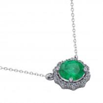 Round Diamond & Emerald Halo Pendant Necklace 14K White Gold (1.40ct)