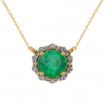 Round Diamond & Emerald Halo Pendant Necklace 14K Yellow Gold (1.40ct)