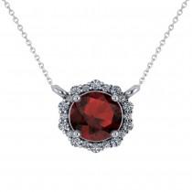 Round Diamond & Garnet Halo Pendant Necklace 14K White Gold (1.55ct)