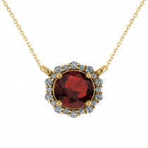 Round Diamond & Garnet Halo Pendant Necklace 14K Yellow Gold (1.55ct)