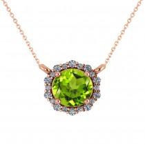 Round Diamond & Peridot Halo Pendant Necklace 14K Rose Gold (1.25ct)
