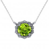 Round Diamond & Peridot Halo Pendant Necklace 14K White Gold (1.25ct)