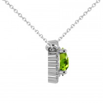 Round Diamond & Peridot Halo Pendant Necklace 14K White Gold (1.25ct)