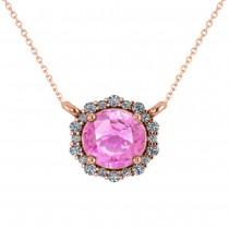 Round Diamond & Pink Sapphire Halo Pendant Necklace 14K Rose Gold (1.55ct)