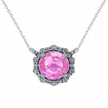 Round Diamond & Pink Sapphire Halo Pendant Necklace 14K White Gold (1.55ct)