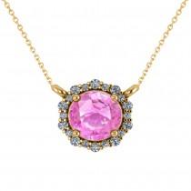Round Diamond & Pink Sapphire Halo Pendant Necklace 14K Yellow Gold (1.55ct)