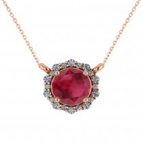 Round Diamond & Ruby Halo Pendant Necklace 14K Rose Gold (1.55ct)