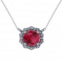 Round Diamond & Ruby Halo Pendant Necklace 14K White Gold (1.55ct)