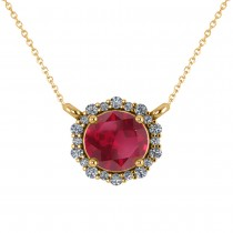 Round Diamond & Ruby Halo Pendant Necklace 14K Yellow Gold (1.55ct)