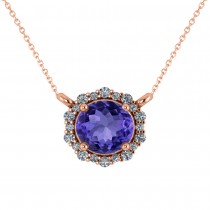 Round Diamond & Tanzanite Halo Pendant Necklace 14K Rose Gold (1.55ct)