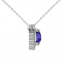 Round Diamond & Tanzanite Halo Pendant Necklace 14K White Gold (1.55ct)