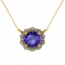 Round Diamond & Tanzanite Halo Pendant Necklace 14K Yellow Gold (1.55ct)