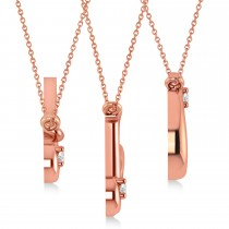 Personalized Diamond Initial Pendant Necklace 14k Rose Gold (0.05ct)