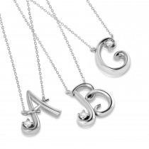 Personalized Diamond Initial Pendant Necklace 14k White Gold (0.05ct)