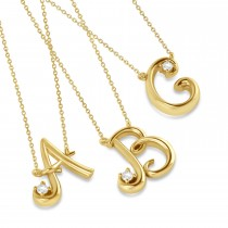 Personalized Diamond Initial Pendant Necklace 14k Yellow Gold (0.05ct)