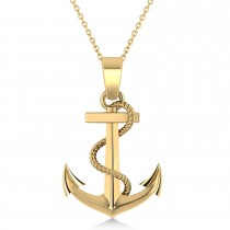 Men's Anchor Pendant Necklace Rope Design 14k Yellow Gold Necklace