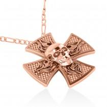 Skull & Cross Men's Pendant Necklace 14k Rose Gold