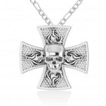 Skull & Cross Pendant 14k White Gold