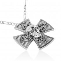 Skull & Cross Men's Pendant Necklace 14k White Gold