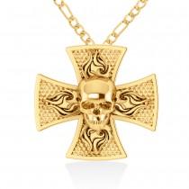 Skull & Cross Pendant 14k Yellow Gold