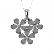 Three Flower Diamond Accented Pendant Necklace 14k White Gold