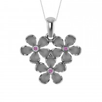 Three Flower Pink Sapphire Accented Pendant Necklace 14k White Gold