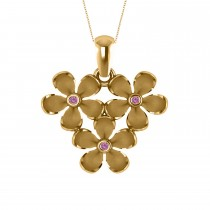 Three Flower Pink Sapphire Accented Pendant Necklace 14k Yellow Gold